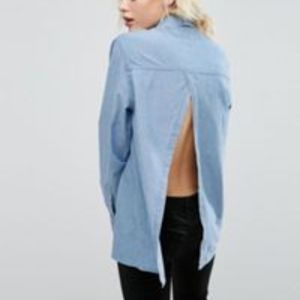 ASOS Denim Shirt With Open Back in Mid Wash